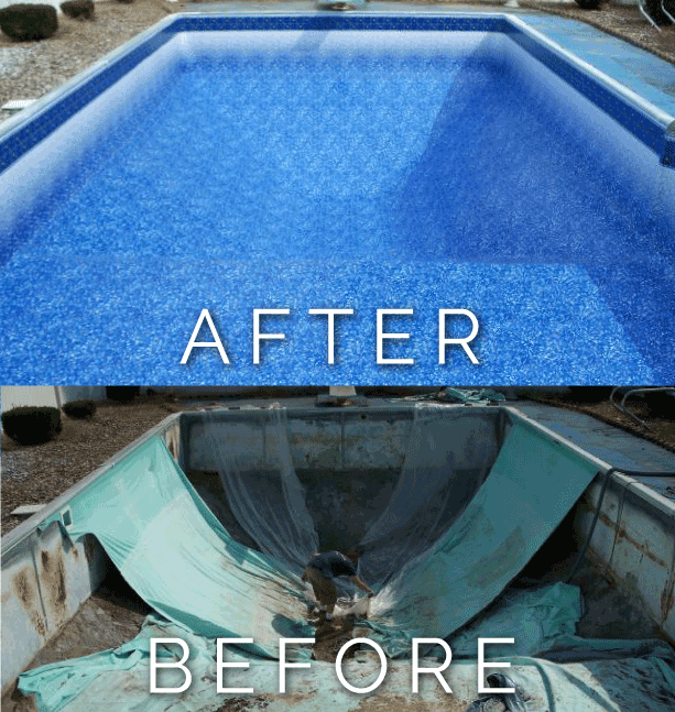 Before and After Pool Liner Replacement